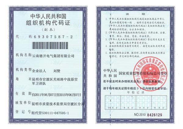 组织机构代码证(集团)